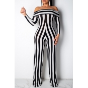 Lovely Casual Striped Black And White One-piece Ju