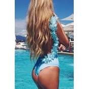 Lovely Sexy Three-dimensional Lace Blue One-piece