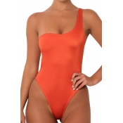 Lovely Sexy One Shoulder Jacinth  One-piece Swimwears