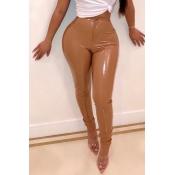 Pantalones De PU De Color Marrón Flacos De Moda Encantadores
