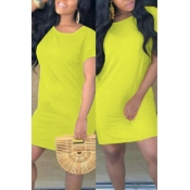Lovely Casual O Neck Loose Yellow Mini T-shirt Dress