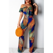 Lovely Bohemian Floral Printed Orange One-piece Ju