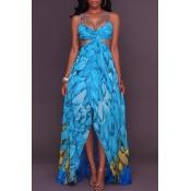 Lovely Trendy Spaghetti Strap Printed Baby Blue Ankle Length Dress