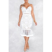 Lovely Sweet Patchwork White Lace Trumpet Mermaid