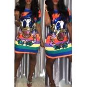 Adorável Doce Personagem Impresso Listrado Multicolor Mini Vestido