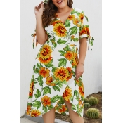 Lovely Plus-size Floral Printed White Mid Calf Dre