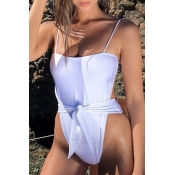 Lovely Sexy Knot Design White One-piece Swimwears