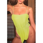 Lovely Sexy Knot Design Yellow One-piece Swimwears