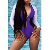 Lovely Trendy Color Lump Patchwork Purple One-piece Swimwear