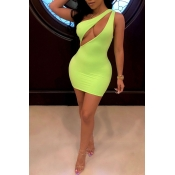Lovely Sexy One Shoulder Green Mini Dress