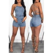 Lovely Women s Sexy Backless Light Blue Romper(Wit