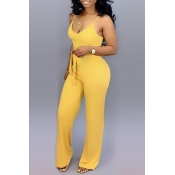 Lovely Casual Lace-up Yellow One-piece Jumpsuit(With Elastic)