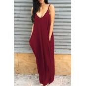 Прекрасное Повседневное Платье С V-образным Вырезом Асимметричного Цвета Красного Вина