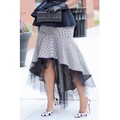 Lovely Plaid Gauze Patchwork Grey Skirts