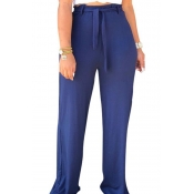 Lovely High Waist Lace-up Blue Pants(With Elastic)