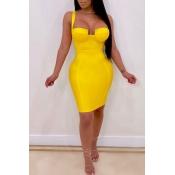 Lovely Sexy Sleeveless Yellow Mini Dress(With Elastic)