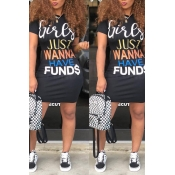 Lovely Casual Letters Printed Black Knee Length Dr