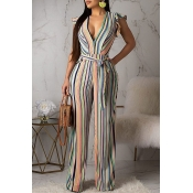 Lovely Contracted Style Striped Jumpsuit