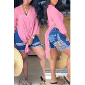 Lovely Casual V Neck High Split Light Pink Shirts