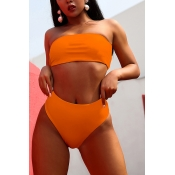 Lovely Orange Two-piece Swimwear