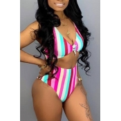 Lovely Striped High Waist Two-piece Swimwear(Not P