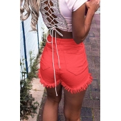 Lovely Casual High Wasit Tassel Design Red Shorts
