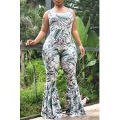 Lovely Casual Print Skinny Flared Jumpsuits(With E