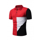 Lovely Casual Patchwork Red Polo Shirts