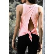 Lovely Casual Knot Design Light Pink Knitting Tank
