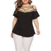 Lovely Plus-size Hollowed-out Black T-shirt