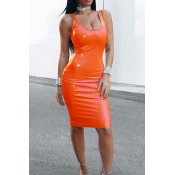 Lovely Sexy U Neck Sleeveless  Jacinth  Knee Lengt