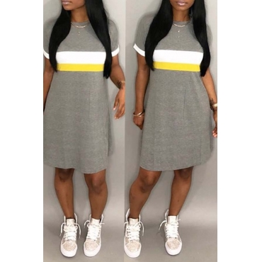 Lovely Casual Patchwork Light Grey Knee Length Dress