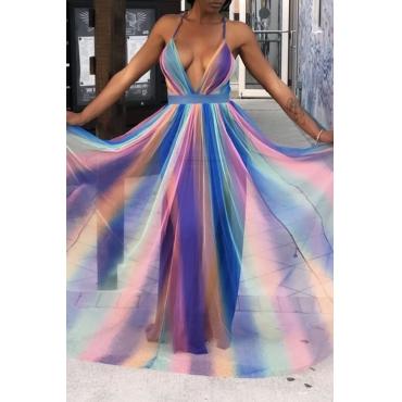 Lovely Sweet Striped Purple Chiffon Floor Length Dress