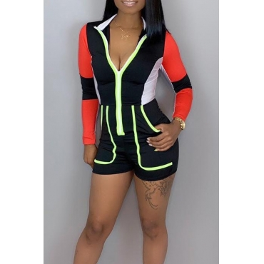 Lovely Trendy Patchwork Skinny Black One-piece Rompers