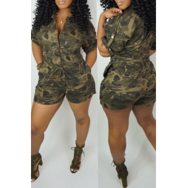 Lovely Casual Camouflage Printed One-piece Rompers