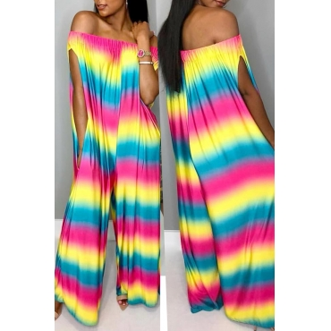 Lovely Casual Rainbow Printed Multicolor One-piece Jumpsuits