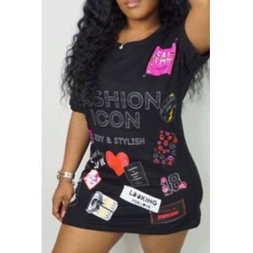 Lovely Casual Letters Printed Black T-shirt