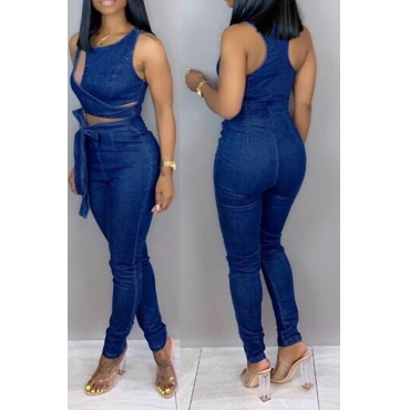 Lovely Casual Hollowed-out Deep Blue Denim One-piece Jumpsuit