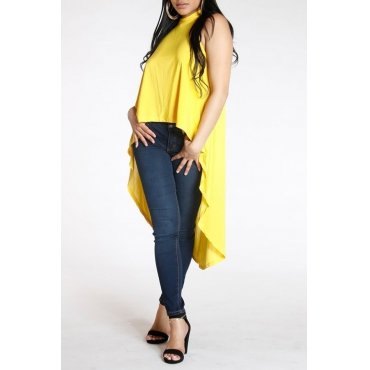 Lovely Casual Short Front And Long Back Yellow Tank Top