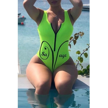 Design De Zíper Casual Lindo Swimwears De Uma Peça Verde
