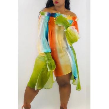 Lindo Doce Vestido De Chiffon Verde Listrado
