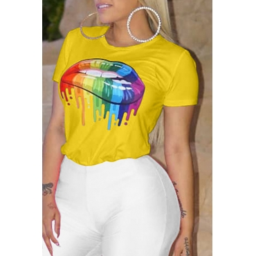 Lovely Casual Lip Printed Yellow T-shirt
