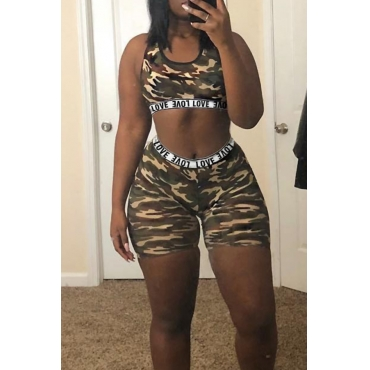 Lovely Casual Camouflage Printed Two-piece Shorts Set