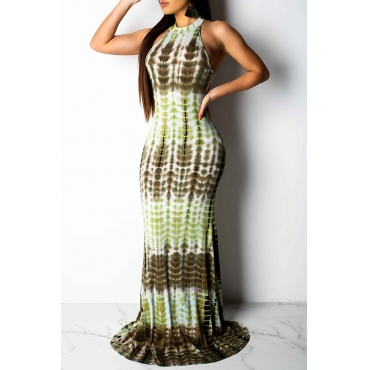 Lovely Sweet Printed Hollowed-out Green Floor Length Dress