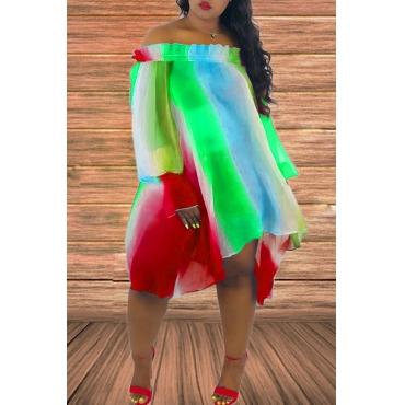 Lovely Sweet Striped Red Chiffon Mini Dress