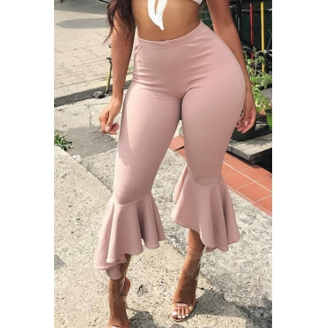Lovely Casual Flounce Design Light Pink Twilled Satin Pants