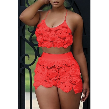 Lovely Sweet Floral  Red  Lace Two-piece Shorts Set