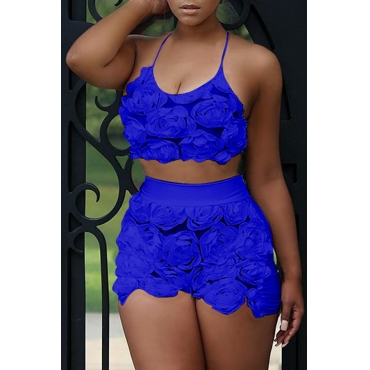 Lovely Sweet Floral Royal Blue Lace Two-piece Shorts Set