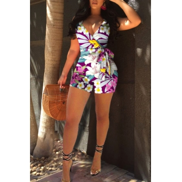 Lovely Bohemian Floral Printed Purple One-piece Romper