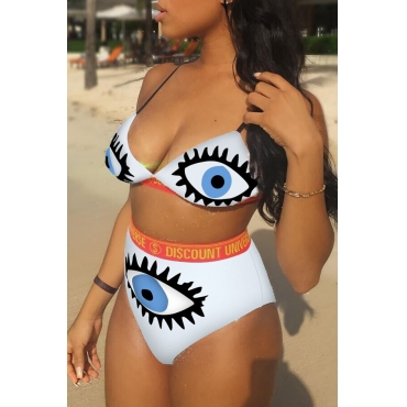 Lovely Sexy Printed White Knitting Two-piece Swimwear
